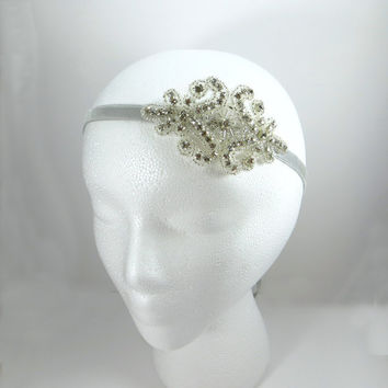 Great Gatsby Headband, Rhinestone Bridal Headpiece, Flapper Art Deco Silver Beaded Headband, 1920s Party