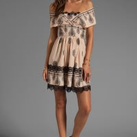 Anna Sui Cameo Border Print Mesh Dot Jacquard Dress in Beige