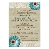 Teal Daisy and Burlap BBQ Wedding Reception 5x7 Paper Invitation Card