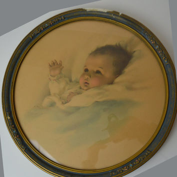 "Vintage Childs Picture -  ""The Awakening"" 1930's Bessie Pease Gutmann Print in Original Frame - Vintage Collectible Print  Baby Print"