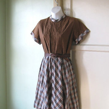 1960s Vintage Schoolgirl Dress - Chocolate Brown Plaid Dress; Medium - High Waist Cotton Plaid Midcentury Day Dress; Chubbette