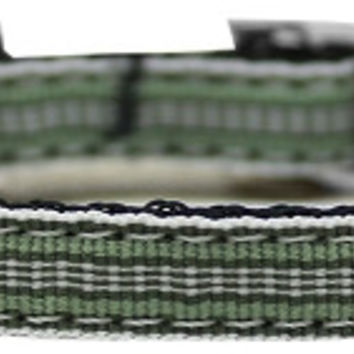 "Preppy Stripes Nylon Dog Collar with classic buckles 3/8"" Green/White Size 14"