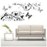 Bedroom Livingroom Decoration Butterfly Flowers Tree Wall Stickers / Wall Decal = 1669448580