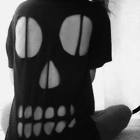 SALE Halloween Skull Cut Out T-Shirt Unisex Various Sizes and Colours