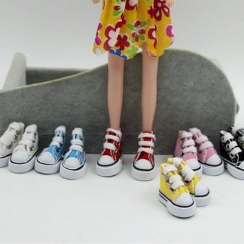 1 Pair Beautiful 1/6 Cute Lace Up Canvas Shoes Fits 12 inch Fashion Barbie Doll Shoes for barbie