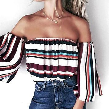 Multicolor Stripe Strapless Shirt Top Tee