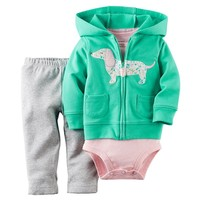Carter's Dog Hooded Cardigan Set - Baby Girl, Size: