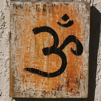 Om Wall Art - Reclaimed Wood - Orange