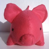 Large hot pink pig stuffed animal | LiveDreamCreate2 - Toys on ArtFire