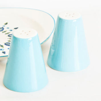 Vintage Stetson Marcrest Swiss Alpine  Salt and Pepper Shakers, 1950s Chalet Turquoise Blue