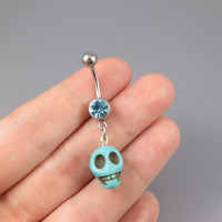 Skull belly button jewelry ring,turquoise Skull belly ring,lucky charm Belly Button Jewelry,summer jewelry,girlfriend gift
