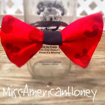 Red & Black Mickey Mouse Silhouette Bow on Black Elastic Head Band