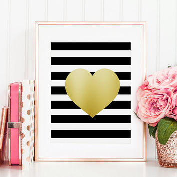 PRINTABLE Art, Gold Heart Print, Gold Foil, Gold Print, Girls Room Decor,Fashion Print,Gift For Her, Digital Print,Wall Art,Girls Room Decor