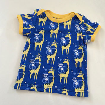 Baby Toddler Boys Shirt Giraffe Printed Jersey Tee for summer Size newborn to 12 months Blue Yellow Euro Style Boutique