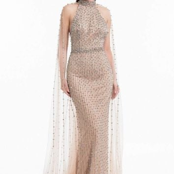 Terani Couture - 1821GL7424 Bedazzled High Halter Gown With Train