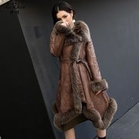 Winter Long Double-faced Fur The Coat Women Real Lamb Fur Coat Genuine Sheep Leather Jacket Natural Fox Fur Collar 161011-11