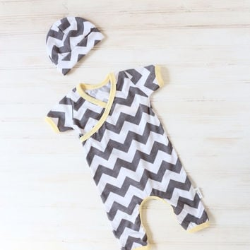 Chevron Kimono Romper - Baby Going Home Outfit - Newborn Romper - Layette - Newborn - 0-3 months - 3-6 months -READY TO SHIP