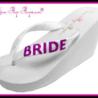 Bride Flip Flops Bridal Bling Ivory White Glitter Wedge Womens Wedding Platform Satin Flip Flops