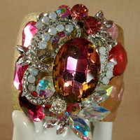 Surreal Deep Pink Crystal Swag Cuff Bracelet Wear If You Dare Trash Glam Big Bold Runway Diva Couture Or Drag Statement Fierce Vibrant OOAK