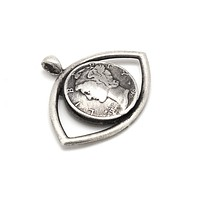 Mercury Dime Old Collector's Coin of USA Eye Pendant Necklace