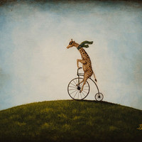 Penny Farthing print giraffe riding bicycle by RustyAppleStudio