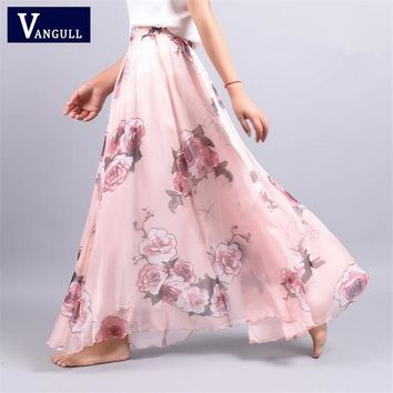 2017 Summer New Fashion Vintage Bohemia Chiffon Floral Printed Women Boho Floor Length Long Maxi Beach Party Loose Flare Skirt