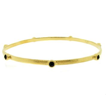 Multiple Round Black Glass .5 Micron Gold Plated Brass Bangle Bracelet
