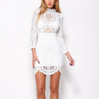 crochet lace mini dress - white