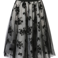 Black Floral Embroidery Tulle Skirt