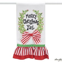 Colorful Tea Towels With Merry Christmas Y'all and Ruffles