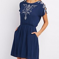EMBROIDERED CUT-OUT DRESS