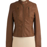 ModCloth Urban Short Length Long Sleeve Visibility Oak Jacket in Bark