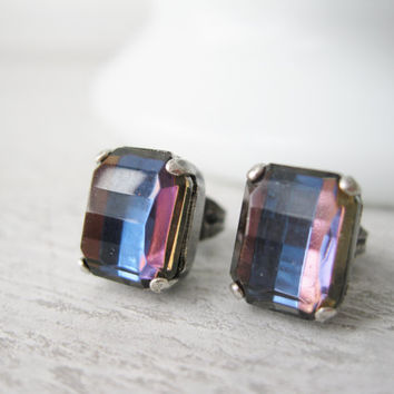Rainbow Stud Earrings, Retro disco style, Multi coloured post earrings, Summer Trends, Vintage rhinestones, Gift for teen girl, Prom Jewelry