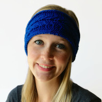 Knit Headwrap, Blue Knit Headband, Cabled Winter Headband