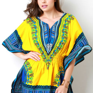 Yellow and Blue Dashiki Dress
