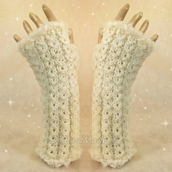 Santa Fingerless Chunky Knitting Cable Hand Warmers Christmas Xmas Soft Sheep Merino Mohair wool of White ready to ship
