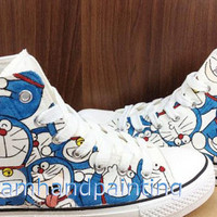 Custom Doraemon Converse Sneakers Hand Painting Cartoon Canvas Shoes