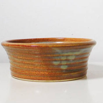 Rustic Stoneware Pottery Earthenware Primitive Incised Marks Signed Speckled Medium Brown w Green Patina Coloring No chips cracks or repairs