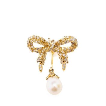 YVONNE LEON | 18k Gold Bow and Pearl Earring | Browns fashion & designer clothes & clothing