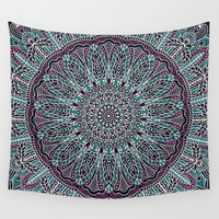 Mandala white pink and cyan lace Wall Tapestry by maria_so
