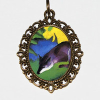 Blue Fox Necklace, Foxes, Fox Jewelry, Franz Marc, Expressionism, Oval Pendant