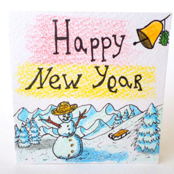 Happy New Year card 2014, Handmade Happy New Year 2014 greeting card ,Snowman hand-drawn original card for New Year 2014