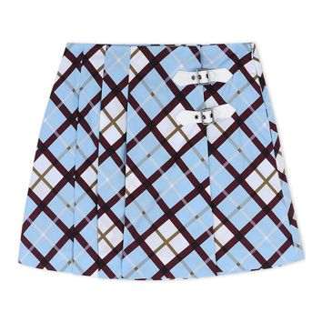 Marc By Marc Jacobs Sky Blue Plaid Mini Skirt - Blue Pattern Mini Skirt