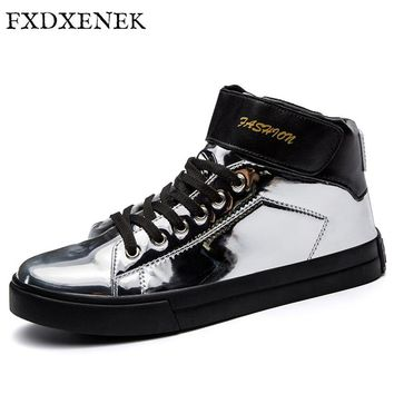 FXDXENEK Men Shoes 2017 New Arrival Sequined Cloth Round Toe High Top Men Casual Shoes Lace Up Fashion Sneakers Mens Flats Shoes