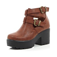 River Island Girls brown double buckle clumpy boot