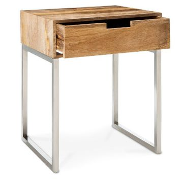 Threshold™ Wood Accent Table with Chrome
