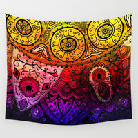 Abstract Floral Design Wall Tapestry by Samantha Lynn