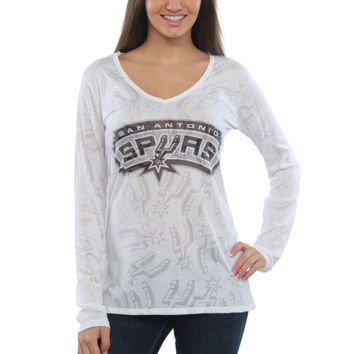 San Antonio Spurs Women's Sublime Burnout V-Neck Long Sleeve T-Shirt – White