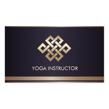 Black Gold Stripes Eternity Knot Yoga Instructor Business Card