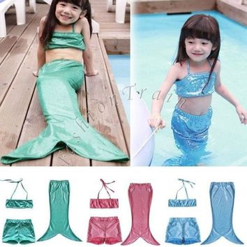 CREYUG3 3pcs/suit Girls Kids Mermaid Tail Swimmable Bikini Set Swimwear Swimsuit Swimming Costume = 1946447364